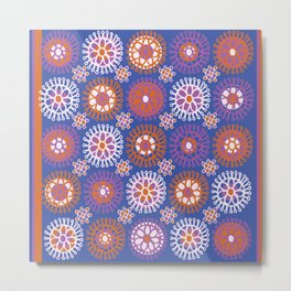 Flower Doodles Cobalt Blue, circles and flowers design Metal Print
