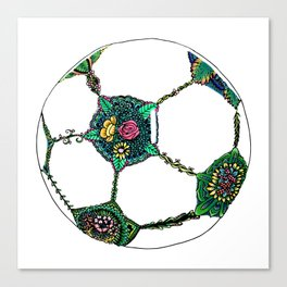 Floral Soccer Ball Canvas Print