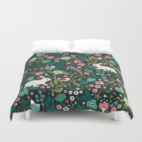 friends Duvet Covers featuring Forest Friends by Anna Deegan