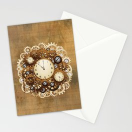Steampunk Vintage Style Clocks and Gears Stationery Cards