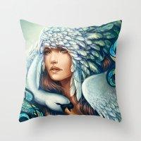 swan queen Throw Pillows featuring Swan by Bea González