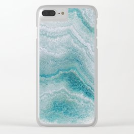 Sea green marble texture Clear iPhone Case