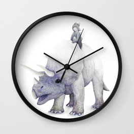 Boy Riding Triceratops Dinosaur Wall Clock