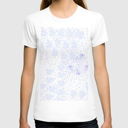 Blue circle on white T-shirt