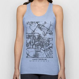 AMSTERDAM NETHERLANDS BLACK CITY STREET MAP ART Unisex Tank Top
