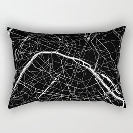 Paris France Minimal Street Map - Black on White Rectangular Pillow