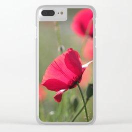 Poppy flower in summer light Clear iPhone Case
