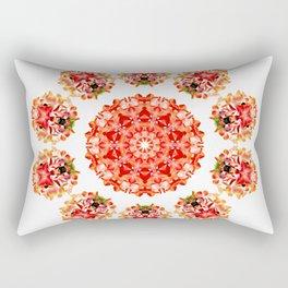 Red Floral Floklore Flower Pattern Illustration Rectangular Pillow