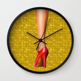 A woman's leg with a red high-heeled shoe on Gold-leaf Screen Wall Clock