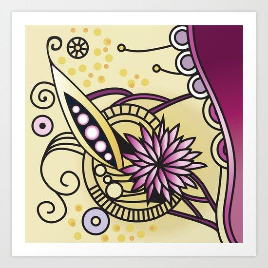 Ornate square zentangle, Naples Yellow Hue Art Print