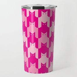 Pink Catstooth Pattern Travel Mug