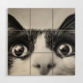 Funny Cat black and white Wood Wall Art