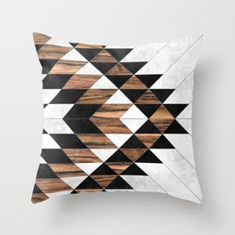 Urban Tribal Pattern No.9 - Aztec - Concrete and Wood Throw Pillow
