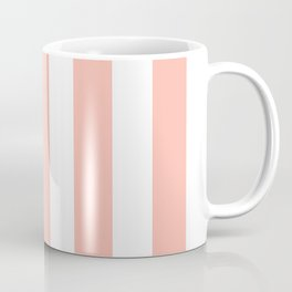 Melon pink - solid color - white vertical lines pattern Coffee Mug