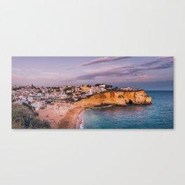 Carvoeiro town and beach in Lagoa, Algarve, Portugal. Canvas Print