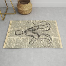 Book Art Octopus black & white Rug