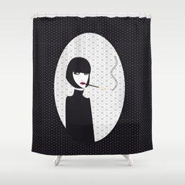 Dark lady smoking Shower Curtain
