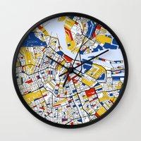 mondrian Wall Clocks featuring Amsterdam Mondrian by Mondrian Maps