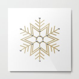 Silver and Gold 3-D look Snowflake Metal Print