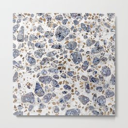 Terrazzo - Blue Agate and gold on marble #2 Metal Print