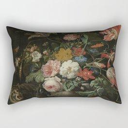 Abraham Mignon - The overthrown bouquet - 1660-1679 Rectangular Pillow