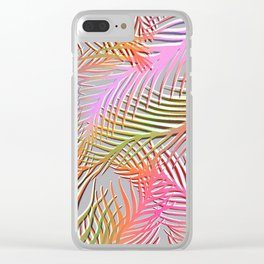 Palm Leaves Pattern - Pink, Gray, Orange Clear iPhone Case