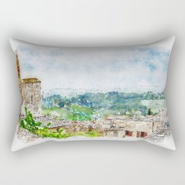 Aquarelle sketch art. Beautiful spring froggy landscape in Tuscany countryside, Italy Rectangular Pillow