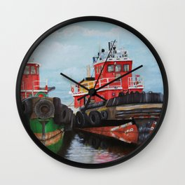 Tugboats on Penobscot Bay Wall Clock