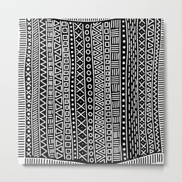 Black white hand painted geometrical aztec pattern Metal Print