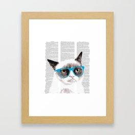 Cat with glasses Framed Art Print