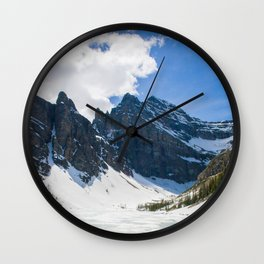Lake Agnes, Banff, Canada with snow Wall Clock