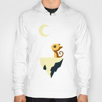 vector Hoodies featuring Moon Cat by Freeminds