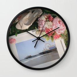 Romantic Santa Monica Pier framed Photo for Wedding or Valentine's Day Wall Clock