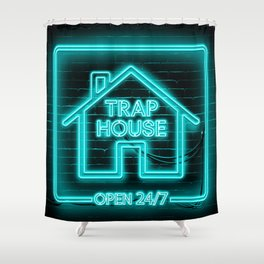 Trap House Neon Shower Curtain