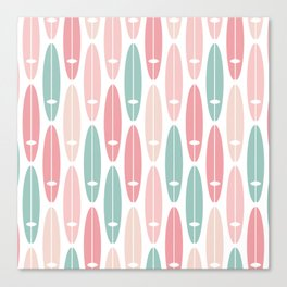 Vintage Surf Boards in Pastel Pink Canvas Print