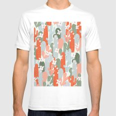 Floral Cactus Mens Fitted Tee White MEDIUM