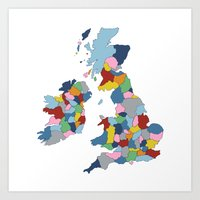 uk Art Prints featuring UK by Project M