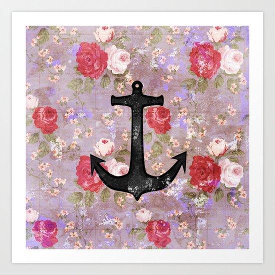 Vintage Nautical Anchor Purple Pink Floral Pattern  Art Print