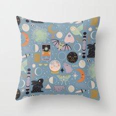 Lunar Pattern: Blue Moon Throw Pillow