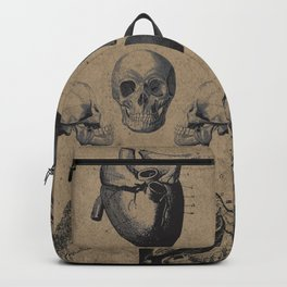 Skull View - Antique Vintage Style Medical Etching Backpack