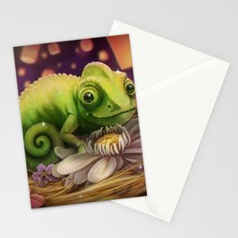 Lizard Under the Lights Stationery Cards