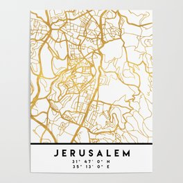 JERUSALEM ISRAEL PALESTINE CITY STREET MAP ART Poster