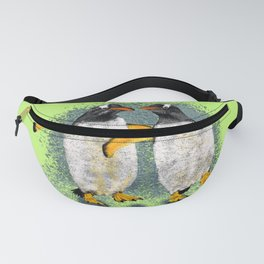Happy penguin couple - Lime Fanny Pack