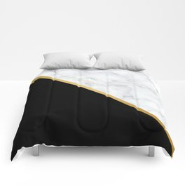 Marble, Black, White, Gold, Abstract Color Block Comforters