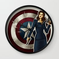 agent carter Wall Clocks featuring Agent Carter by Tera Sidebottom