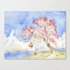 Girl on a Sakura Tree Swing with Cats Canvas Print