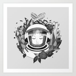 Pearl Space Race - BnW Art Print