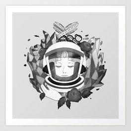 Pearl Space Race - BnW Art Print
