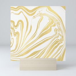Bronze Copper Gold Rush Marble Ink Swirl Mini Art Print