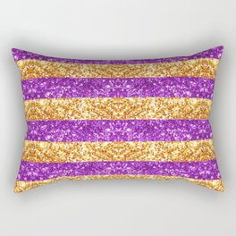 Purple and Gold Glitter Stripes Baton Rouge New Orleans Nola Louisiana Los Angeles California Rectangular Pillow